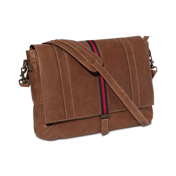 91b80ae526 ... Bag In Khaki Men Lyst. Tommy Hilfiger Workhorse Leather Messenger In  Brown