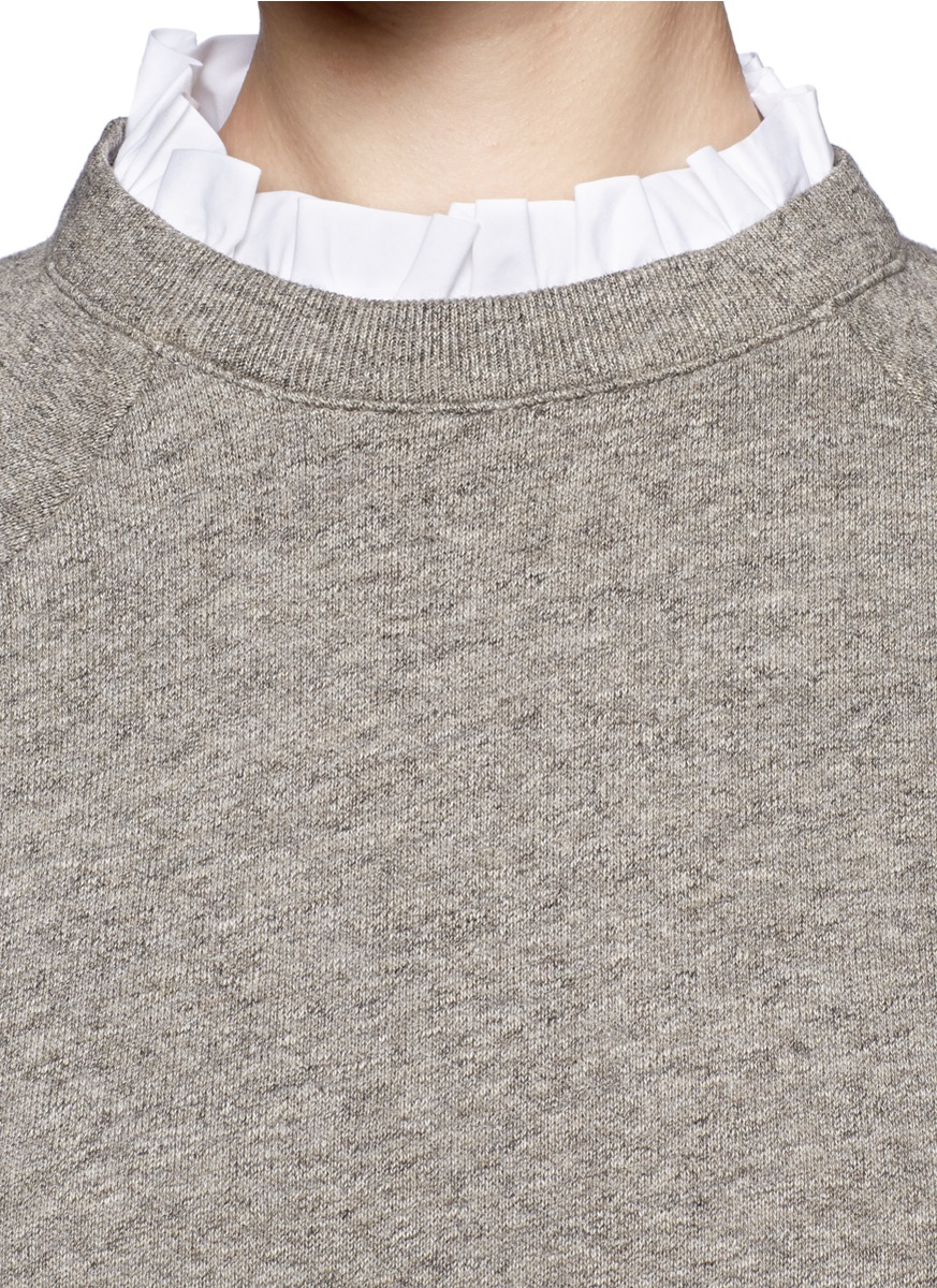 Lyst  JCrew Rufflecollar Sweatshirt In Grey in White