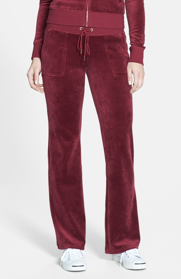Juicy Couture Velour Pocket Pants In Red Lyst