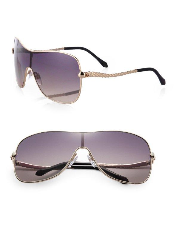 Roberto Cavalli Metal Shield Aviator Sunglasses In Gold