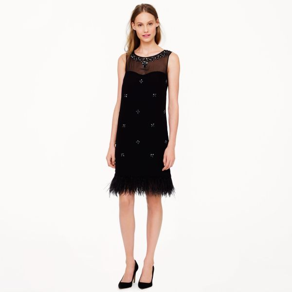 Lyst - .crew Collection Beaded Feather Dress In Black
