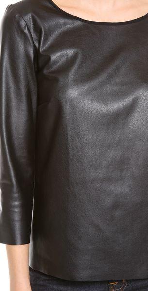 Ella Moss Sandra Faux Leather Long Sleeve Top in Black  Lyst