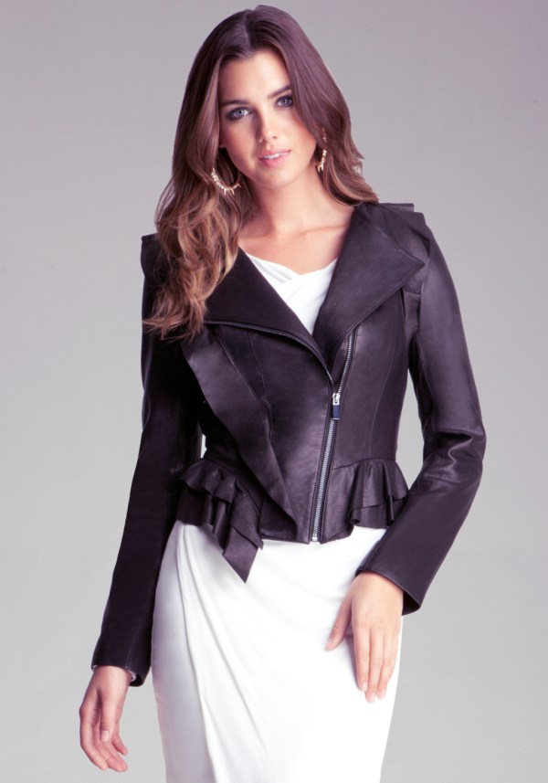 Bebe Ruffle Leather Jacket In Black - Lyst