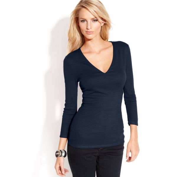 International Concepts Petite Ribbed Knit -neck Top