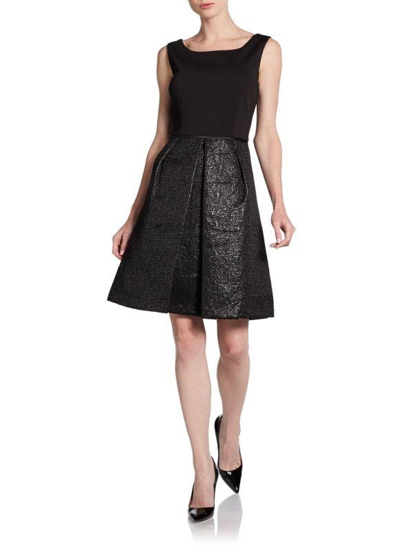 Tahari Metallic Skirt Dress In Black Lyst