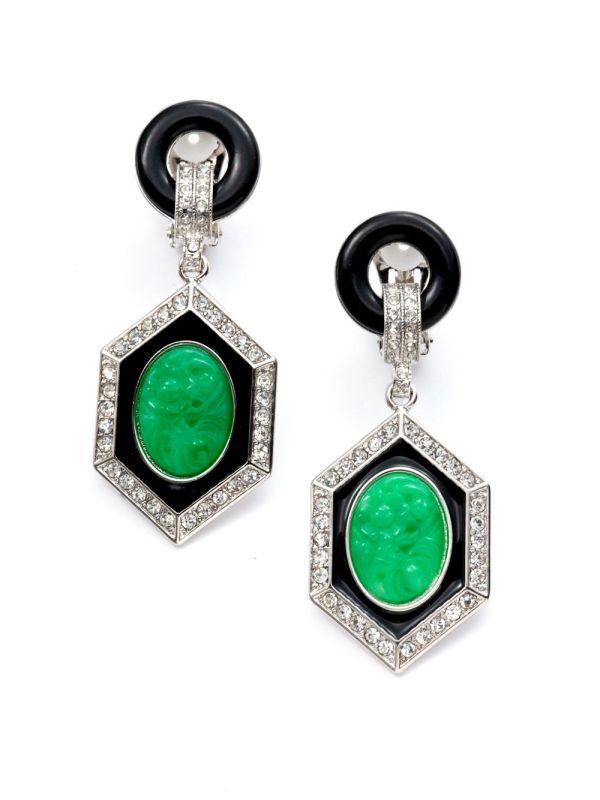 Lyst - Kenneth Jay Lane Jade Crystal Deco Drop Earrings In Green