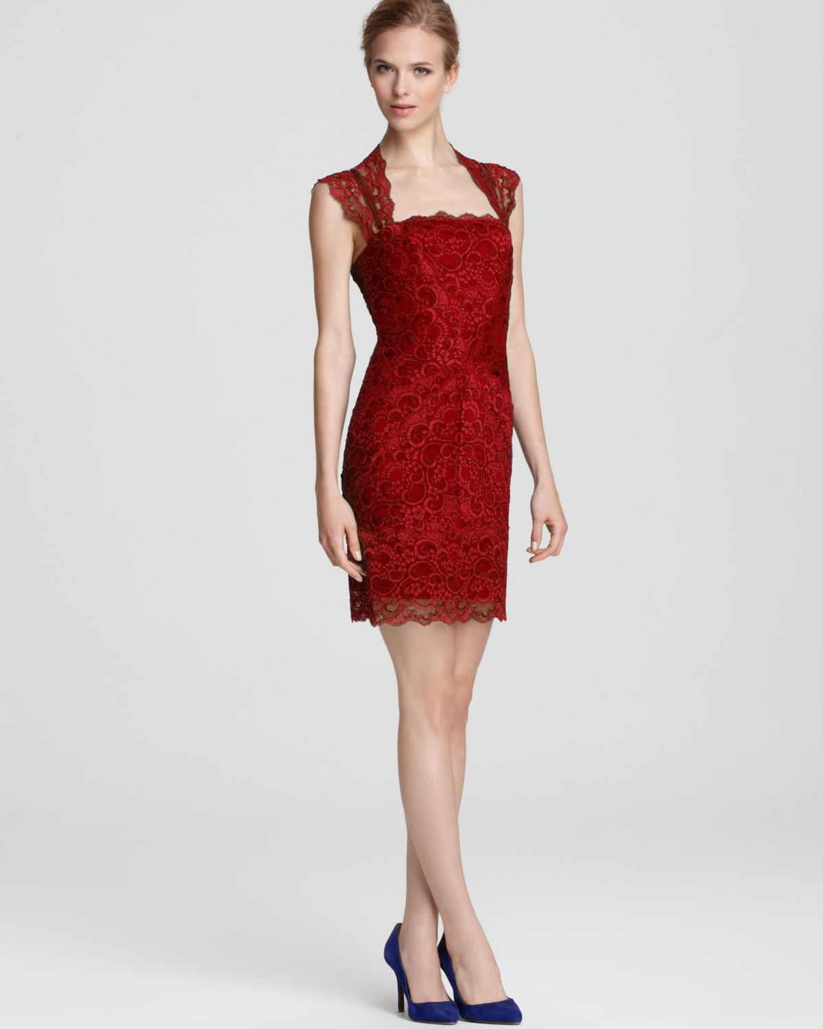 Nicole Miller Dress Stretch Lace Short Open Back in Red  Lyst