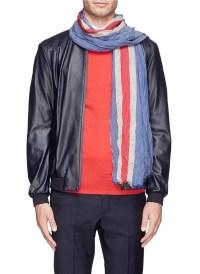Armani Regimental Stripe Cotton Blend Scarf for Men | Lyst