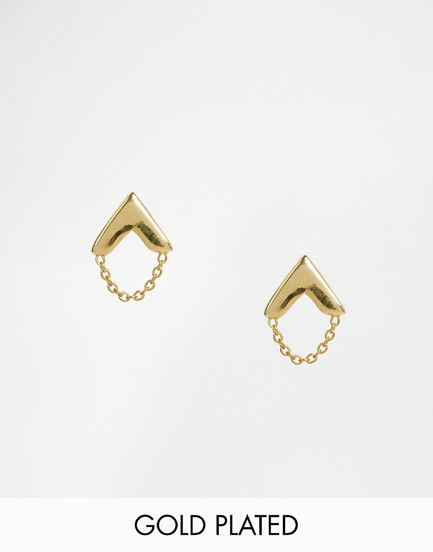 Asos Gold Plated Sterling Silver Arrow Chain Earrings in