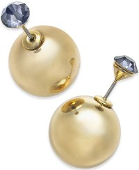 Macy's Gold-tone Crystal And Ball Front-back Earrings in ...