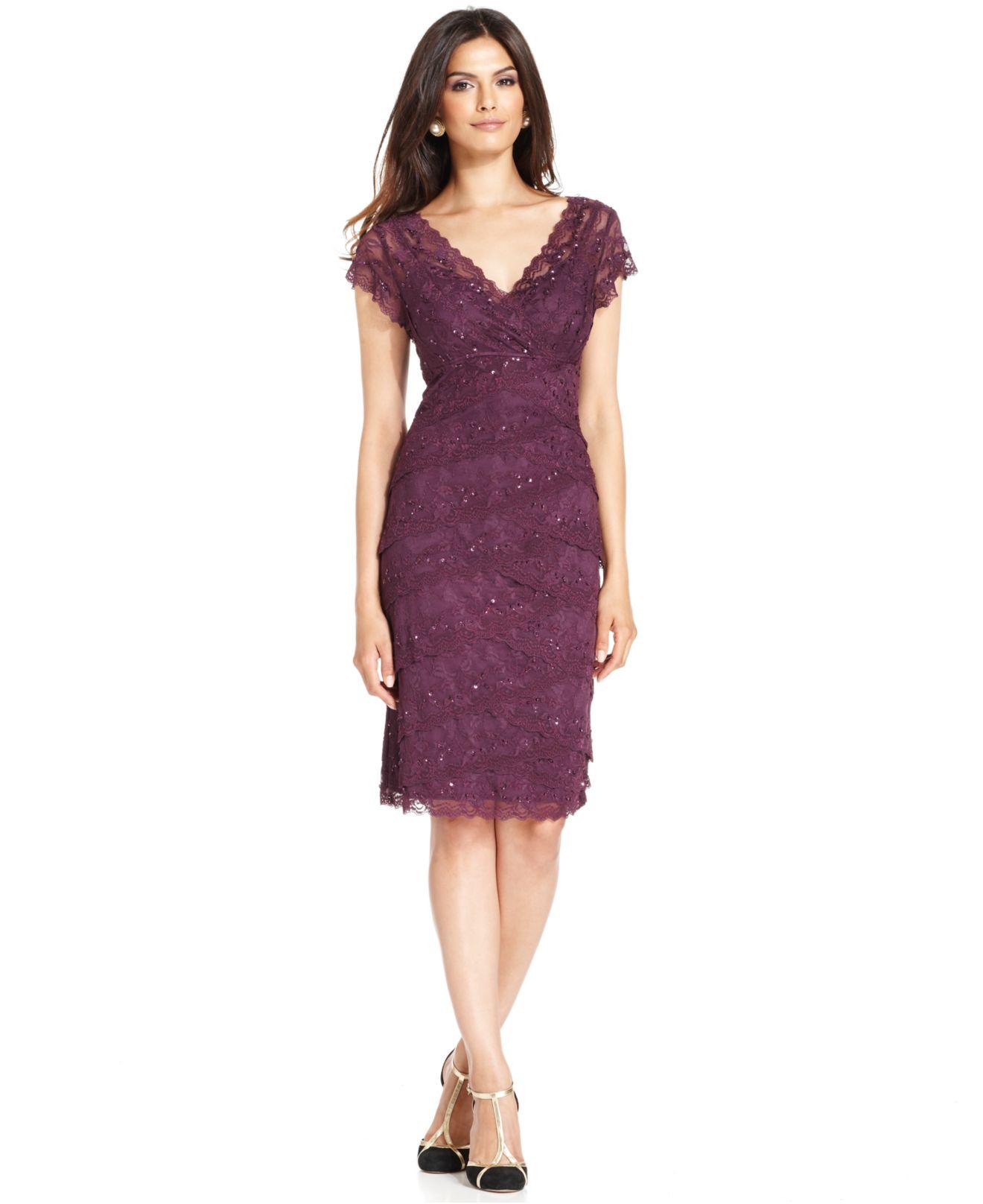 Lyst  Marina CapSleeve Lace Dress in Purple