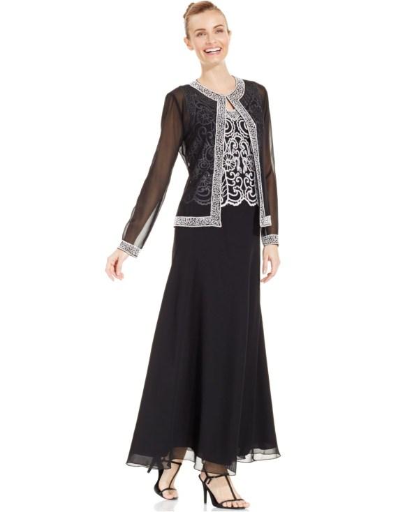 J Kara Embellished Chiffon Gown Plus Size Vtwctr