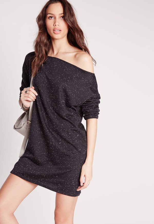 Missguided Long Sleeve Speckled Jumper Dress Dark Grey In