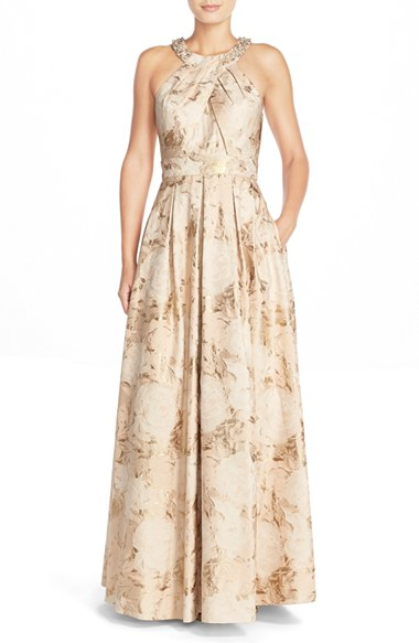 Lyst  Eliza J Beaded Neck Jacquard Ballgown in Natural