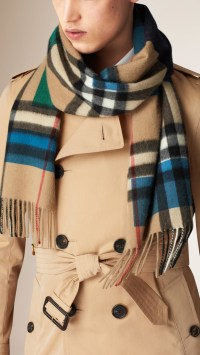 Burberry Colour Block Check Cashmere Scarf in Blue for Men ...