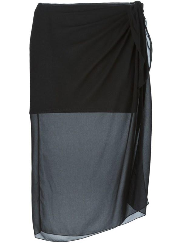Mm6 Maison Martin Margiela Sheer Sarong Overlay Skirt In Black - Lyst