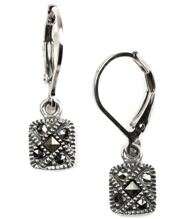 Lyst - Judith Jack Sterling Silver Marcasite Square Drop