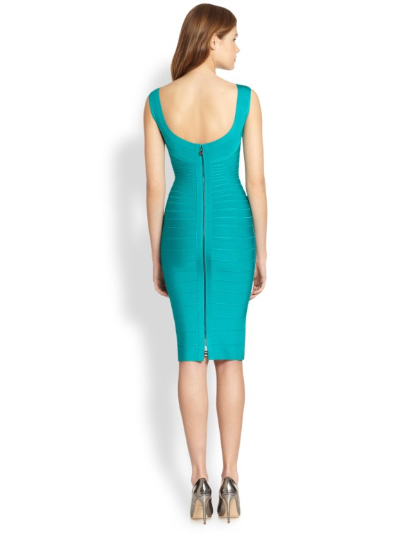 Herv Lger Bateau Neck Dress In Blue Turquoise Lyst