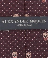 Alexander mcqueen Burgundy Pin Dot Skull Print Silk Tie in ...