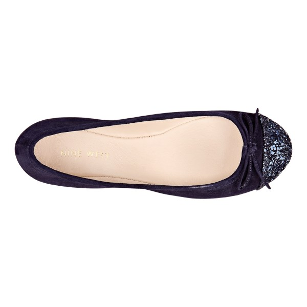 Lyst - Nine West Cacey Toe Flat With Bow In Blue