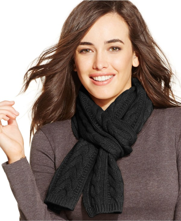 Charter Club Cable Cashmere Scarf Macy' In Black