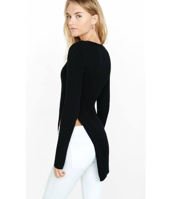 Lyst - Express Ribbed Deep -neck High Slit Tunic Sweater In Black