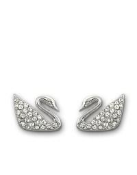 Swarovski Silvertone Crystallized Swan Earrings in ...