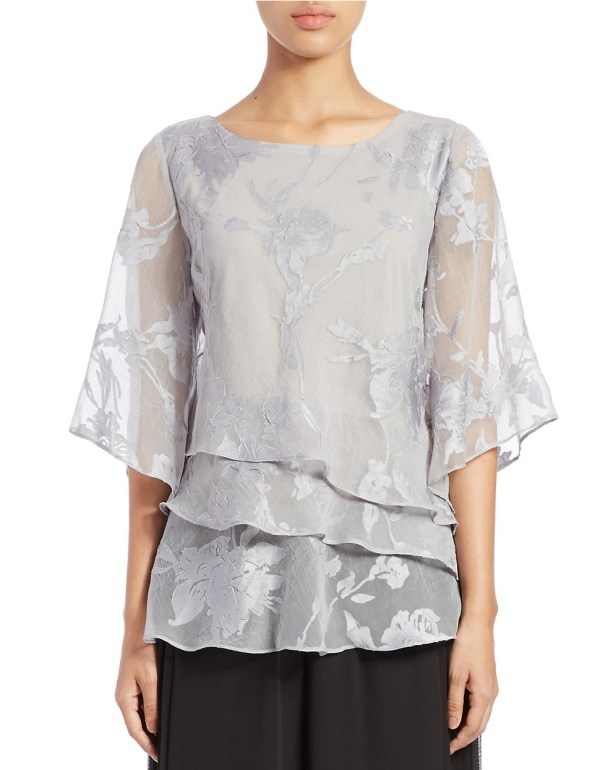 Alex Evenings Tiered Floral Blouse In Metallic Lyst