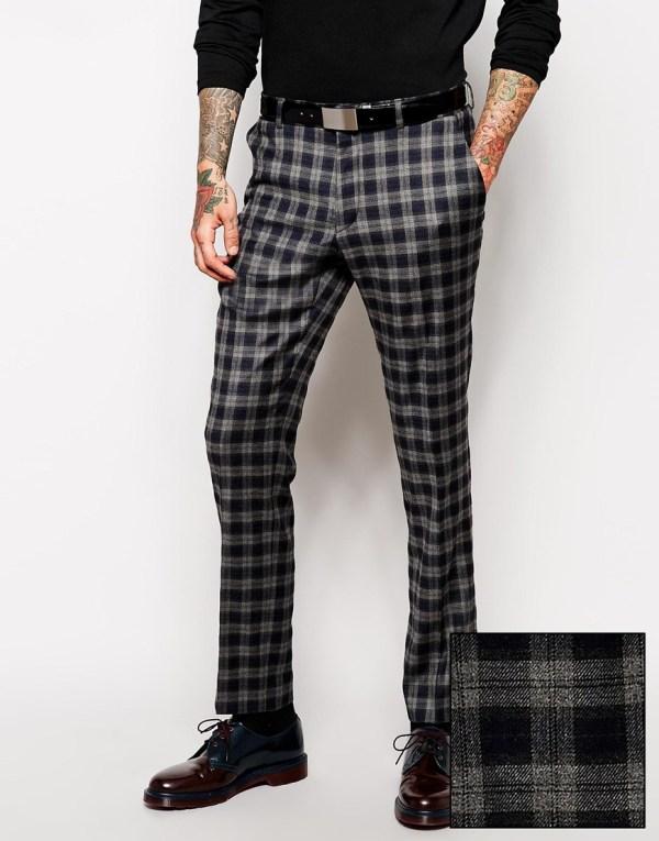 Lyst - Asos Slim Fit Smart Trousers In Tartan Gray Men