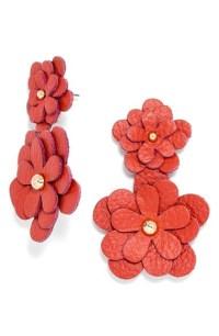 Lyst - Baublebar 'zoe' Leather Flower Drop Earrings in Red
