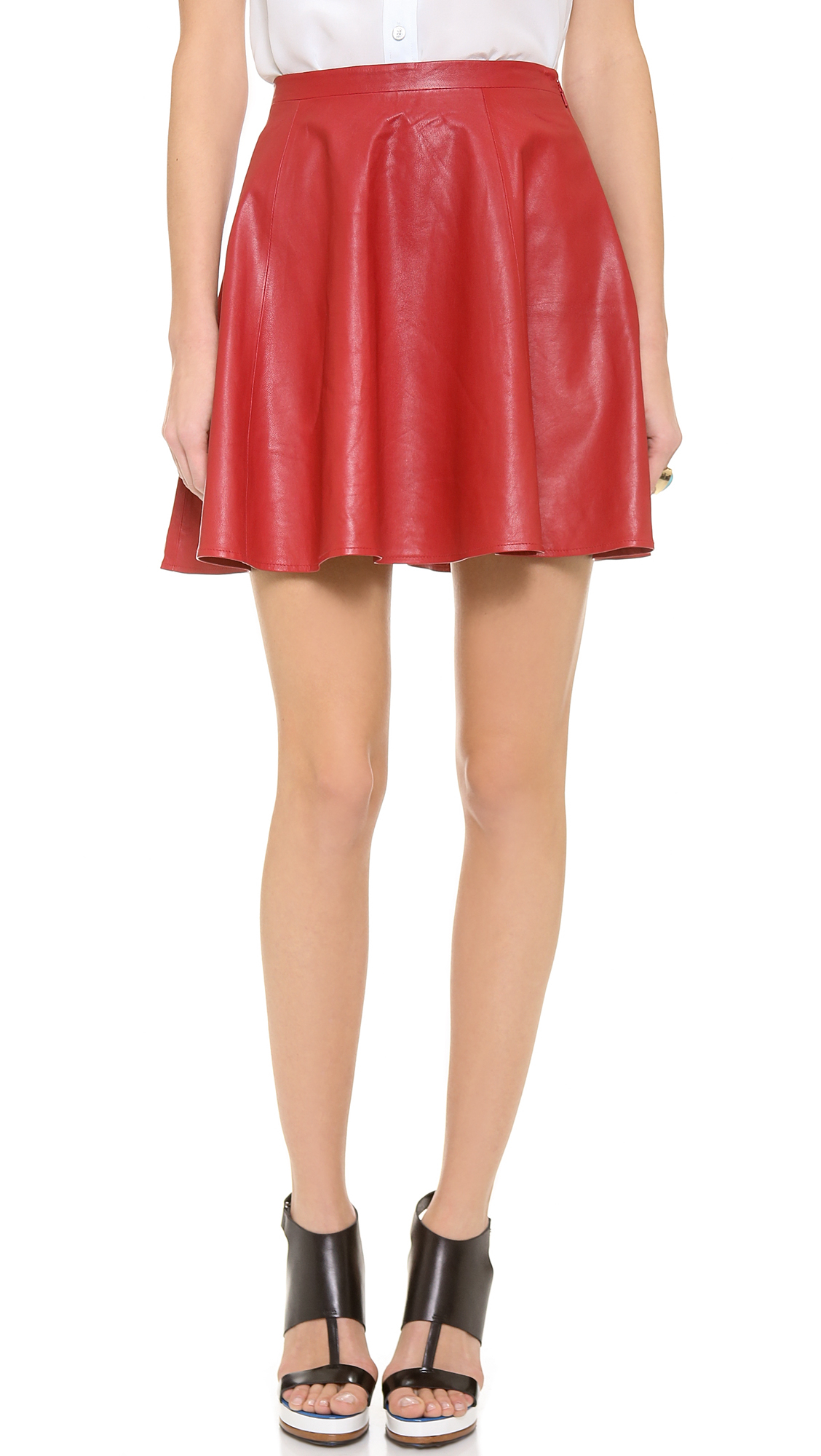 Lovers + Friends Lovers Friends Monica Rose Charlie Leather Skirt Red in Red | Lyst