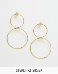 Asos Gold Plated Sterling Silver Circle Earrings in Gold