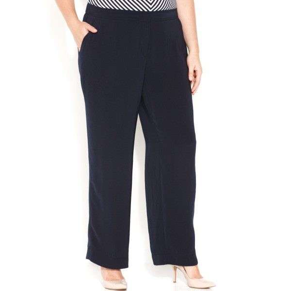 Jones York Collection Size Wideleg Pants In Navy Blue - Lyst