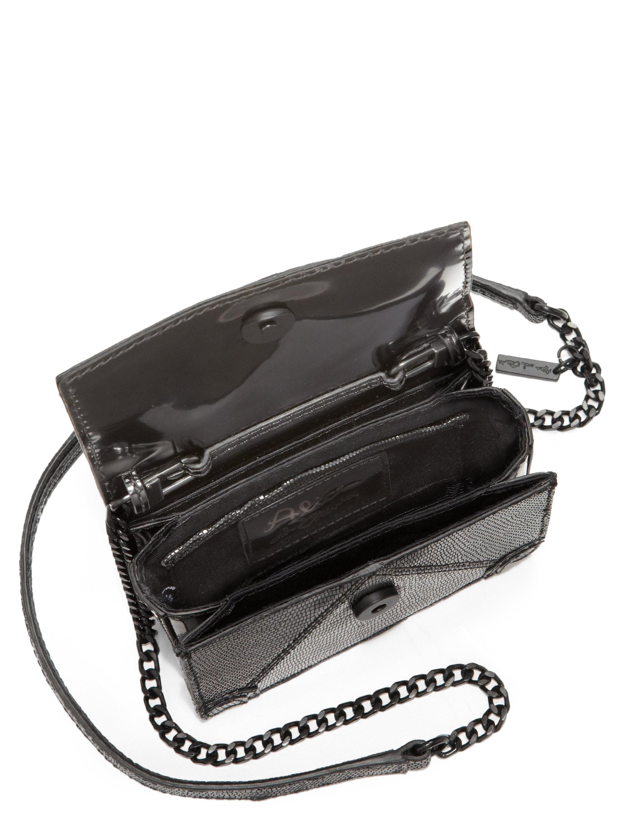Alice + Olivia Mini Lizardembossed Clee Shoulder Bag in Black - Lyst