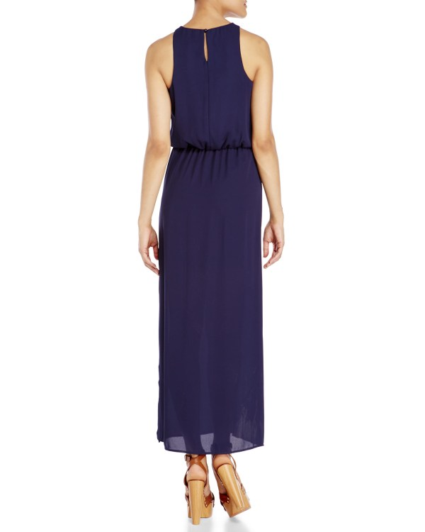 Lyst - City Triangles Navy Embroidered Maxi Dress In Blue
