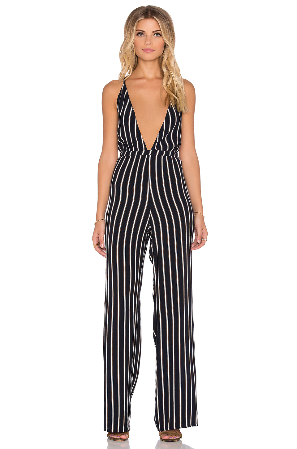 Blue And White Striped Jumpsuit Breeze Clothing