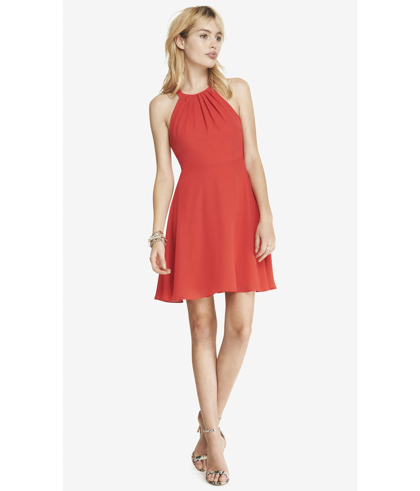 Express Red Fit And Flare Halter Dress in Red KISS KISS RED  Lyst