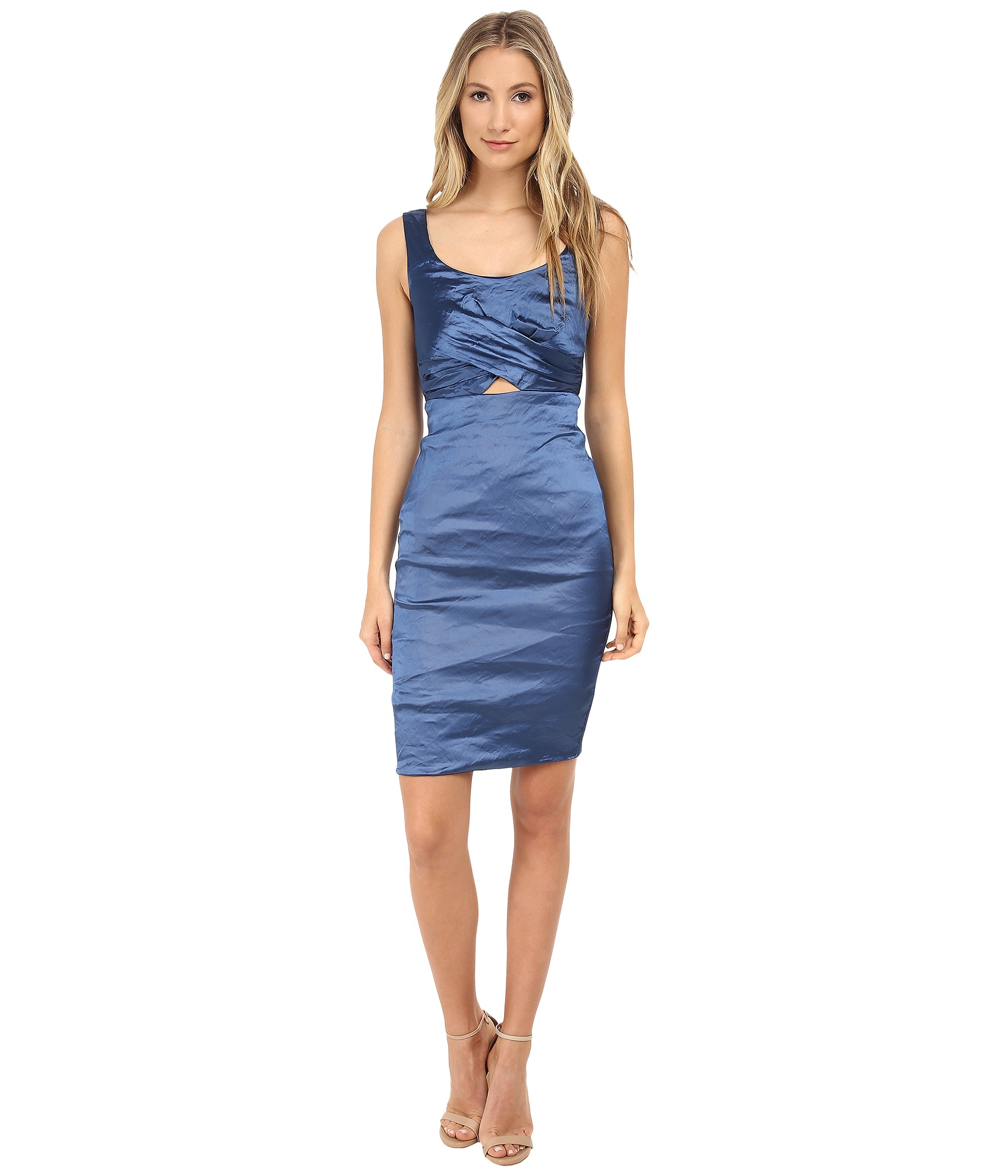 Lyst  Nicole Miller Peekabook Techno Dress in Blue