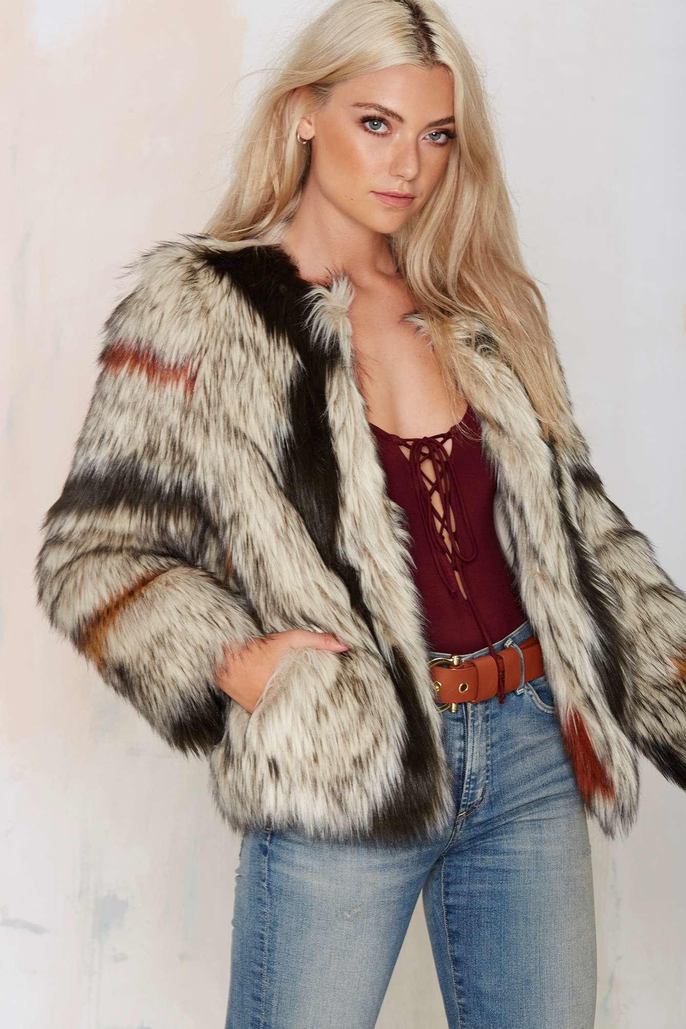 Lyst  Nasty Gal World Tour Faux Fur Coat