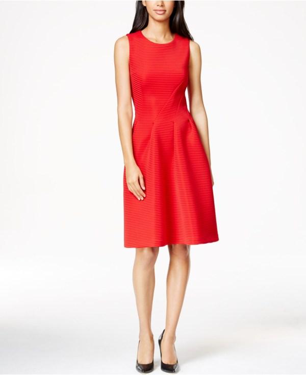 Lyst - Calvin Klein Pleated Scuba -line Dress In Red
