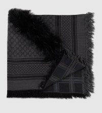 Lyst - Gucci Gg Pattern Shawl With Fur Trim in Black