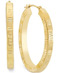 Macy's Etched Hoop Earrings In 10k Gold in Metallic ...