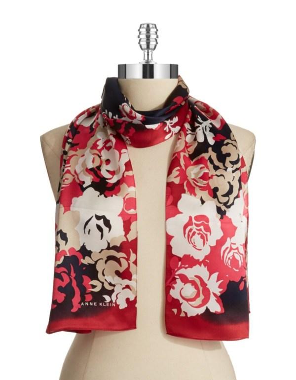 Anne Klein Floral Silk Scarf In Red Lyst