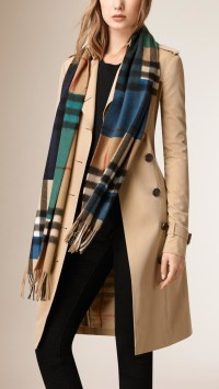 Lyst - Burberry Colour Block Check Cashmere Scarf in Blue ...