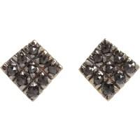 Fabrizio riva Black Diamond Square Stud Earrings in Gray ...