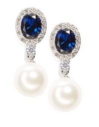 Lyst - Nadri Faux Pearl And Sapphire Crystal Drop Earrings ...