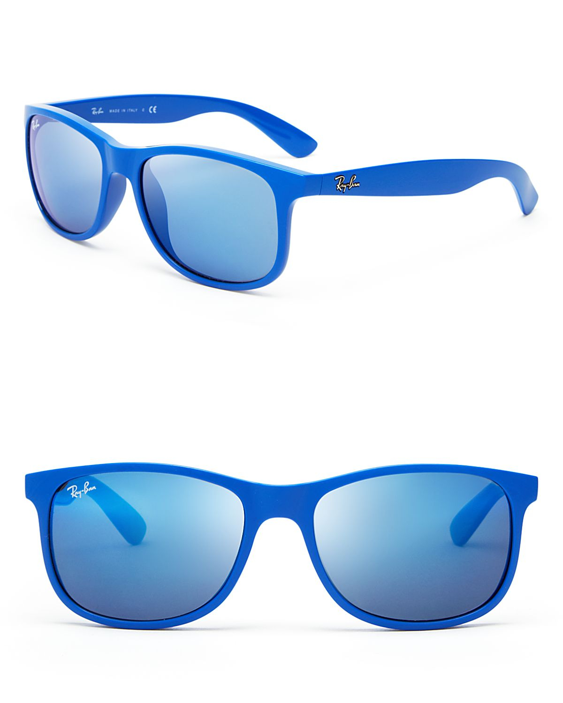 Ray-Ban Mirrored Wayfarer Sunglasses in Blue - Lyst