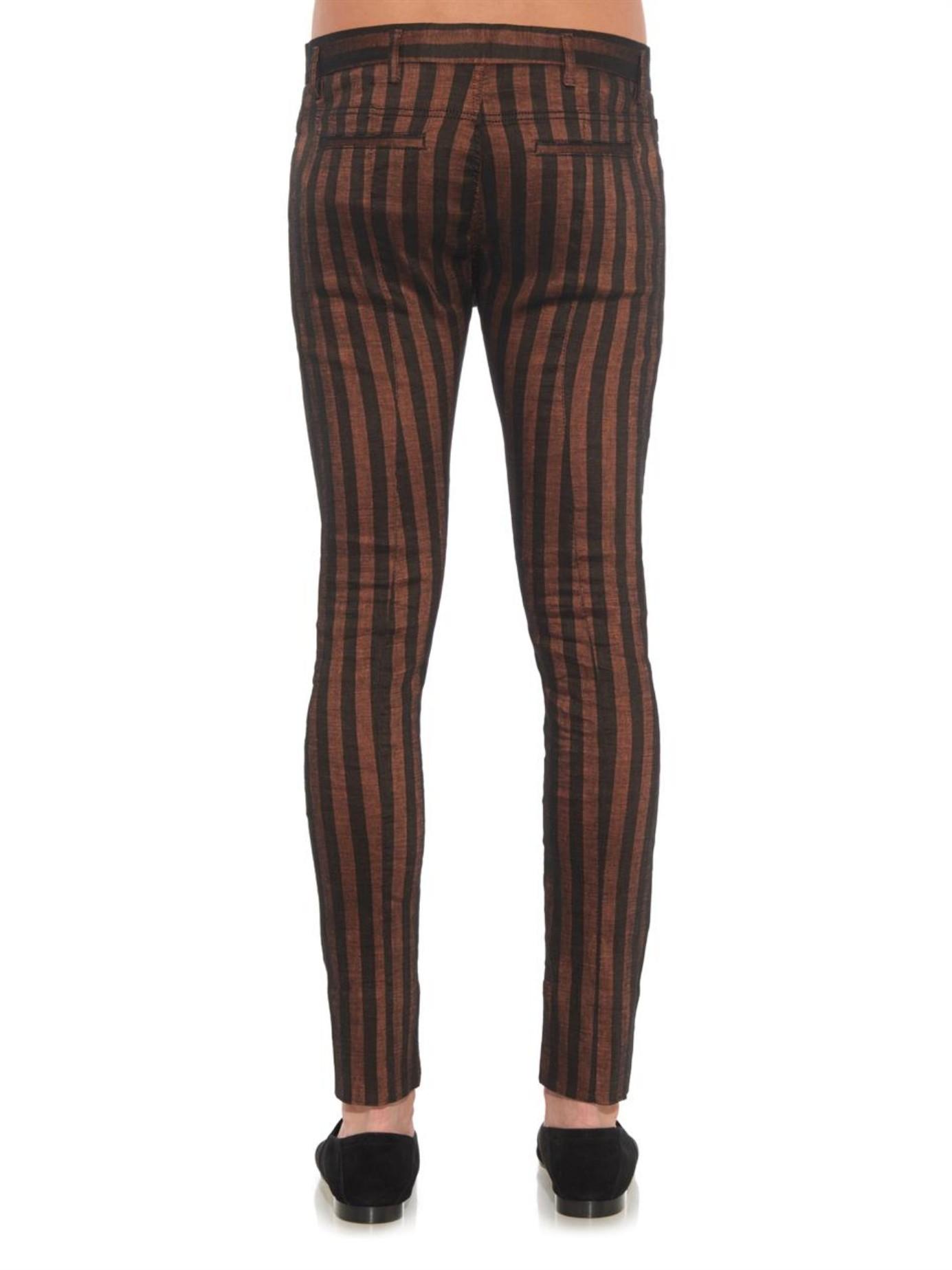 Haider Ackermann Striped Linen-Blend Skinny-Leg Trousers in Red for Men - Lyst