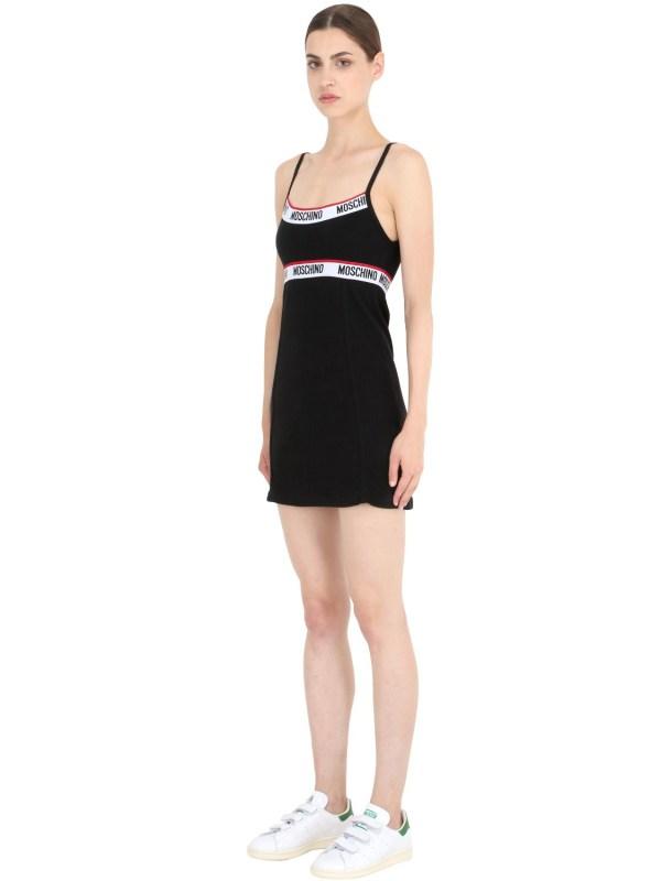 Lyst - Moschino Rib Cotton Slip Dress In Black