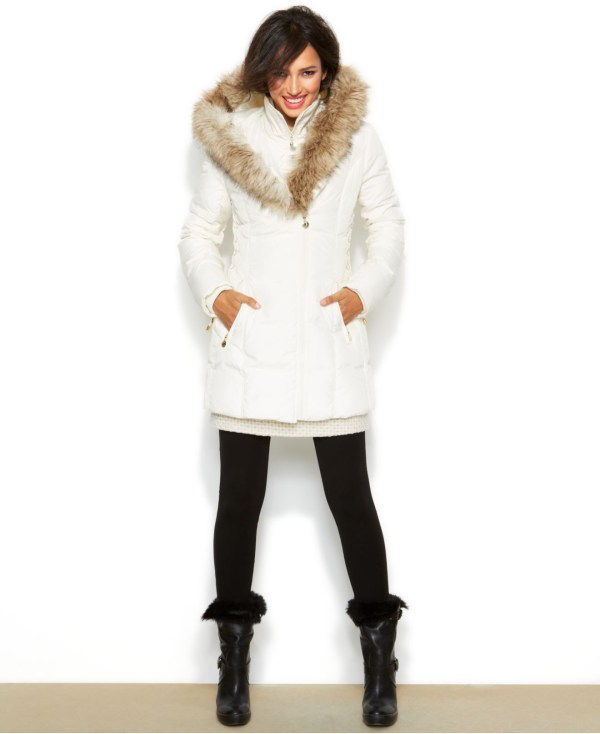 Lyst - Betsey Johnson Hooded Lace- Puffer Coat In White